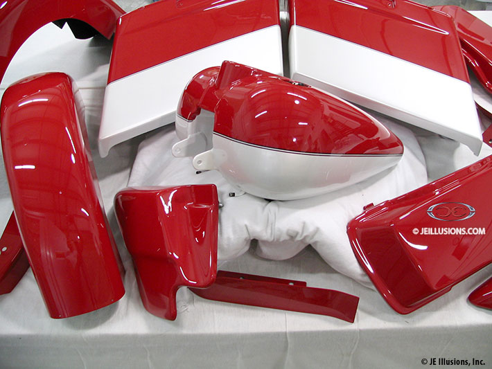 Vintage two tone custom cutting edge illusions - Red and black paint schemes ...