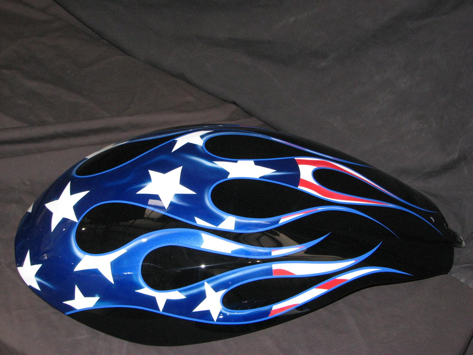 American Flag Flame Design Match 2006 V Rod Custom