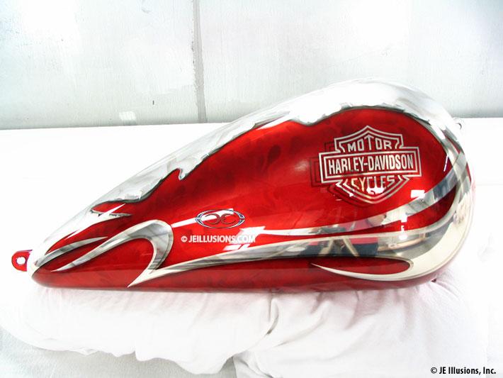 Red Kandy Ripped Metal Graphics Harley Deuce Custom